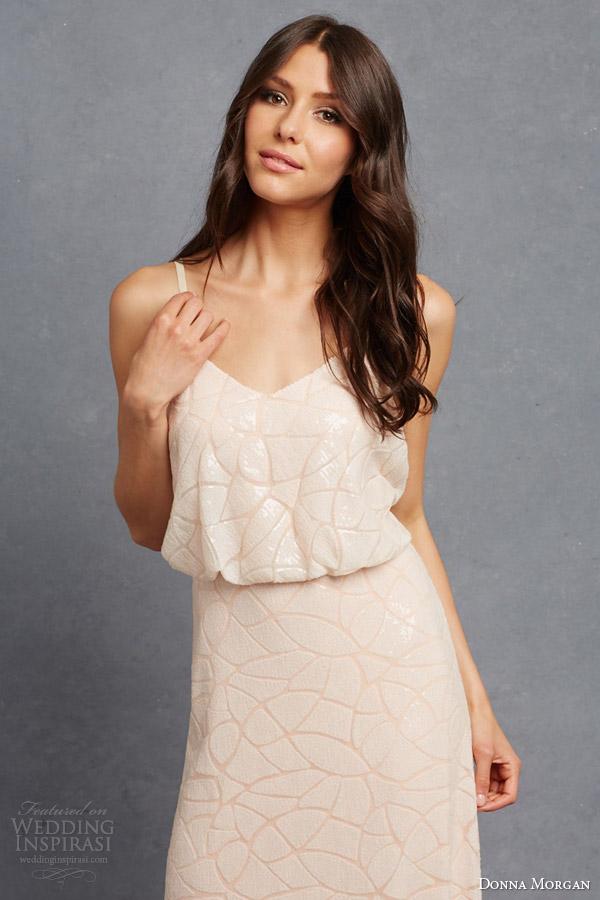 ed87363a045 donna morgan bridal bridesmaid dresss olivia blouson sleeveless gown straps  pailette embellishment