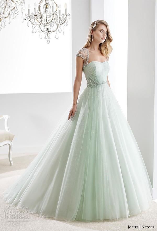 nicole jolies 2016 wedding dresses beaded sheer cap sleeves sweetheart neckline pastel green tulle a line wedding dress joab16423