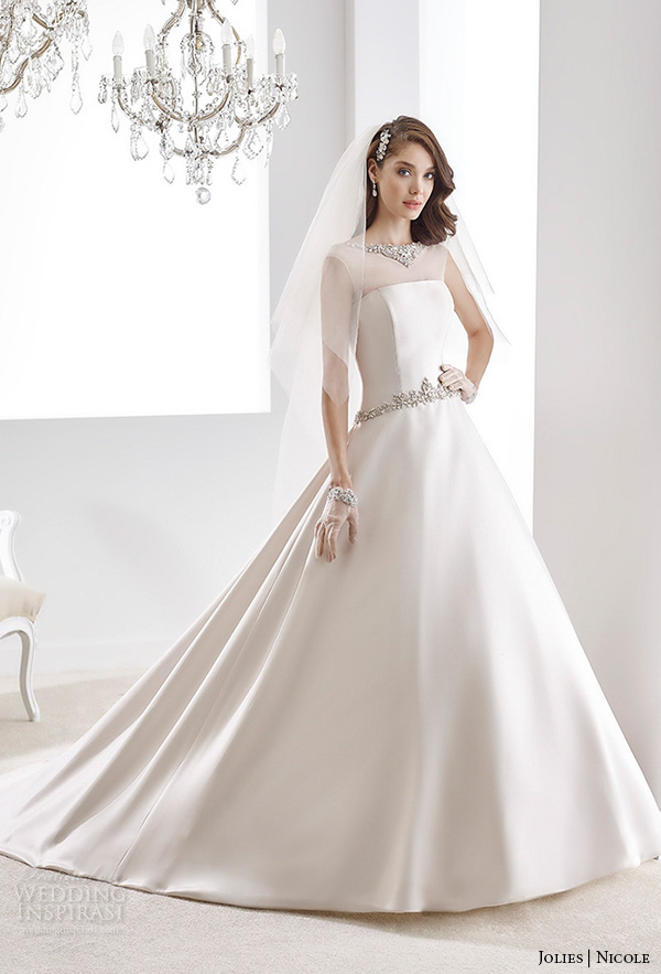nicole jolies 2016 wedding dresses sleeveless sheer boat neckline satin a line wedding dress joab16489