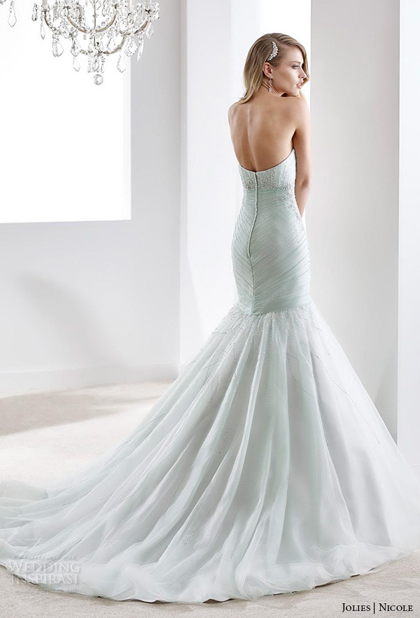 nicole jolies 2016 wedding dresses strapless sweetheart neckline beaded pastel green pretty mermaid wedding dress joab16424 back