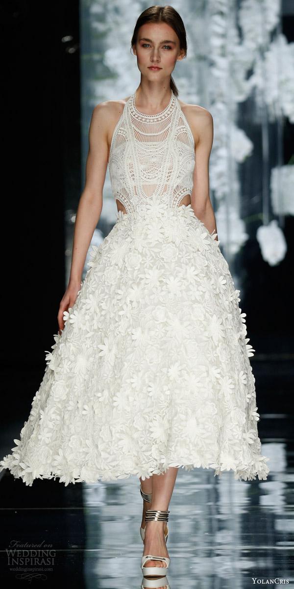 yolan cris bridal 2016 besagu sleeveless halter neck tea length wedding dress cutout lace flower appliques