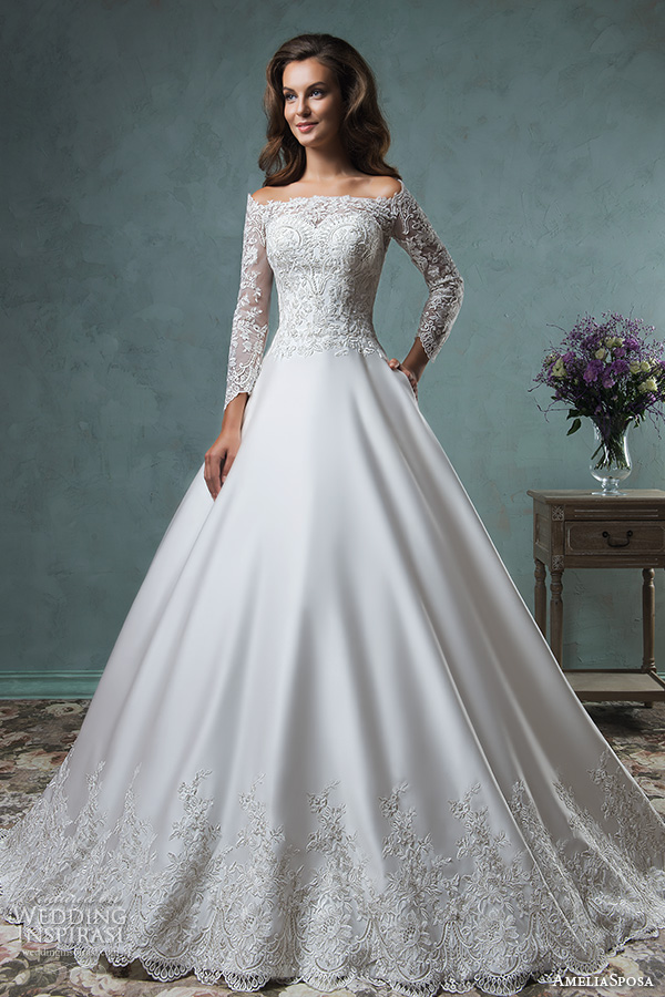 amelia sposa 2016 wedding dresses off the shoulder lace long sleeves embroideried bodice beautiful satin a line ball gown wedding dress canty