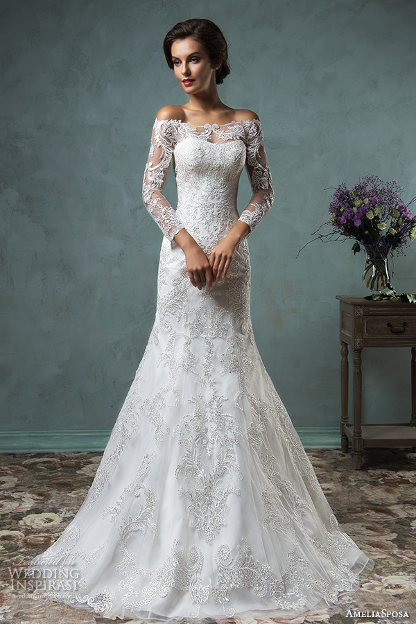 amelia sposa 2016 wedding dresses off the shoulder lace long sleeves overskirt stunning trumpet fit to flare mermaid dress celeste