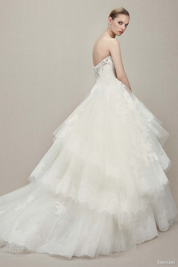 enzoani 2016 kylee strapless sweetheart ball gown alencon lace wedding dress beaded embroidered bodice side view train