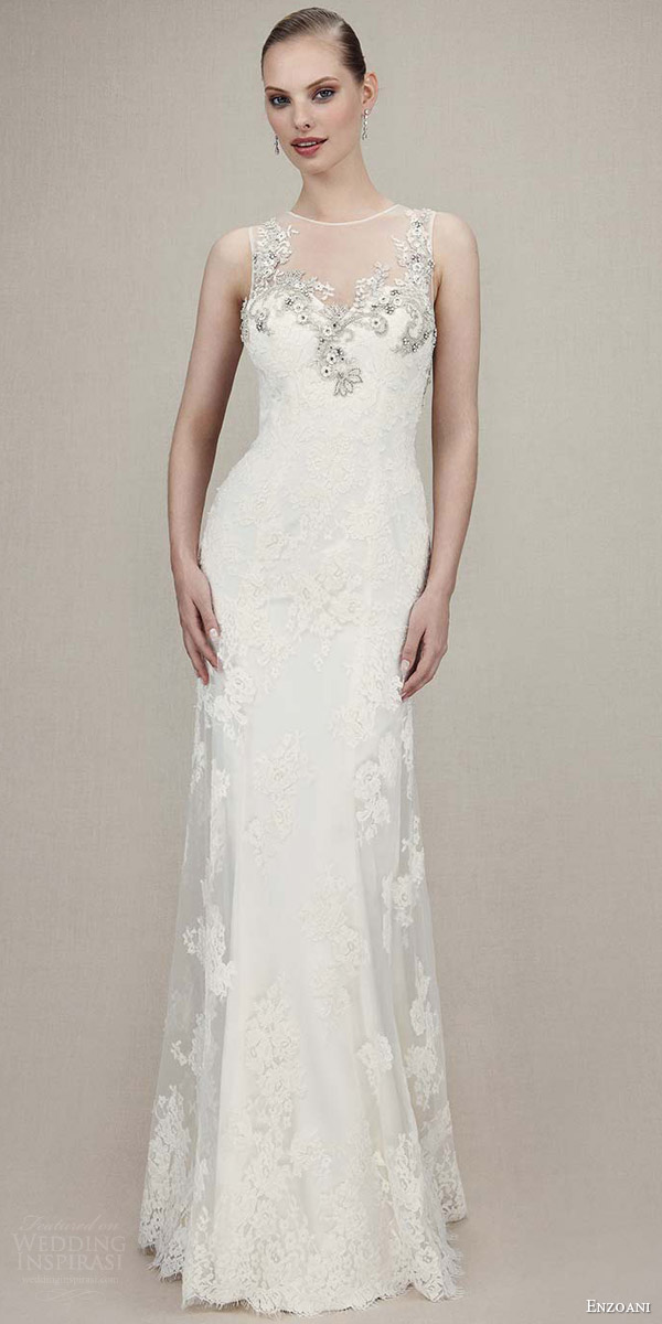 enzoani bridal 2016 kaitlyn sleeveless trumpet gown illusion neckline beaded bodice