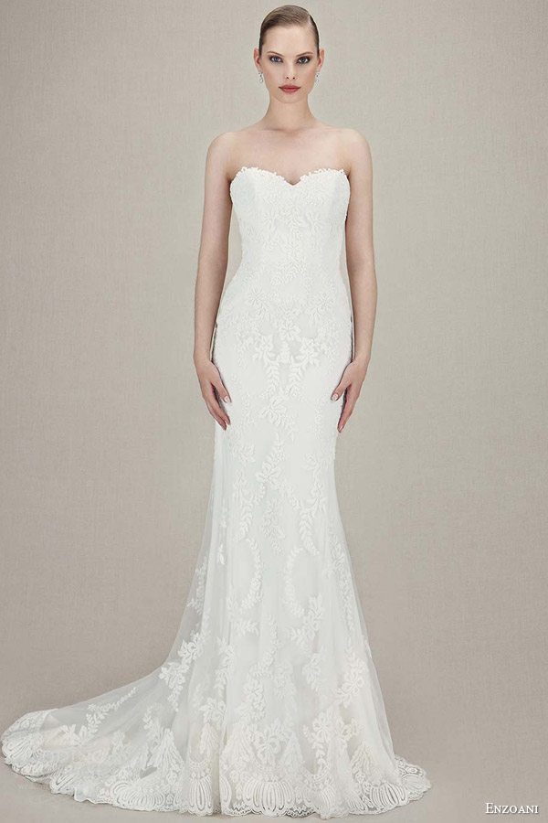 enzoani bridal 2016 karolina strapless sweetheart vintage lace tull mermaid wedding dress