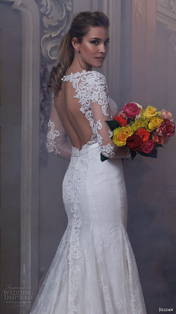 jillian 2016 wedding dresses jewel lace neckline lace sheer long sleeves embroideried bodice slim fit stunning gorgeous wedding dress chapel train cherie back closeup