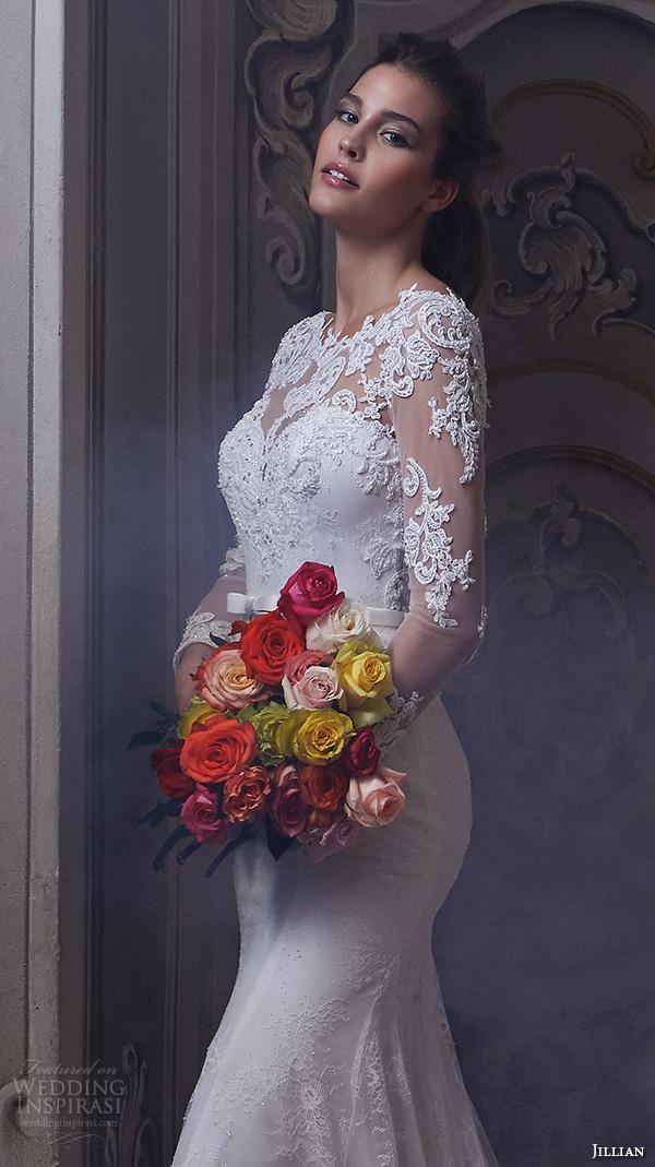 jillian 2016 wedding dresses jewel lace neckline lace sheer long sleeves embroideried bodice slim fit stunning gorgeous wedding dress chapel train cherie closeup