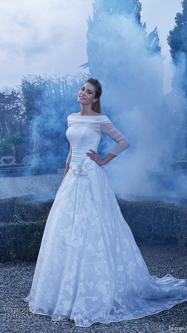 jillian 2016 wedding dresses off the shoulder three quater illusion sleeve ribbon sash floral skirt pretty a line wedding dress carina