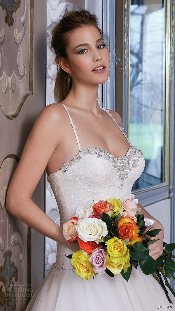 jillian 2016 wedding dresses spagetti strap sweetheart neckline jeweled bustier bodice drop waist beautiful a line wedding dress celeste closeup