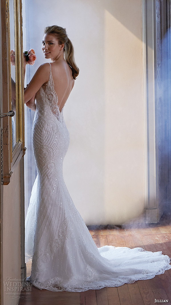 jillian 2016 wedding dresses spagetti strap v neckline slim fit embellished trumpet beautiful mermaid wedding dress cristal back view