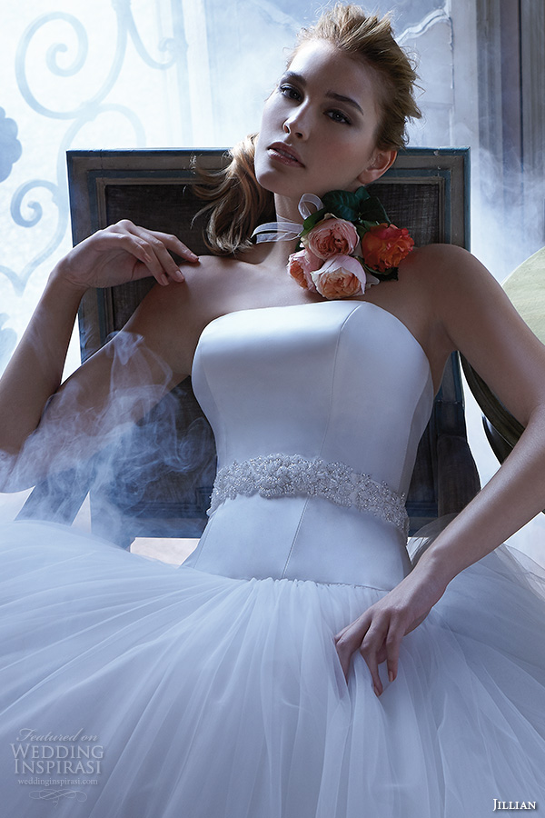 jillian 2016 wedding dresses strapless straight across jeweled belt sash tulle ball gown wedding dress chrissy close up