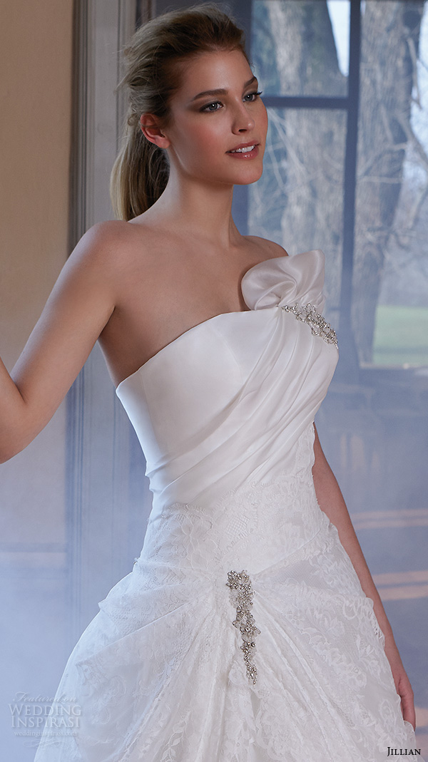 jillian 2016 wedding dresses strapless straight across  neckline drop waist a line wedding dress carrie close up