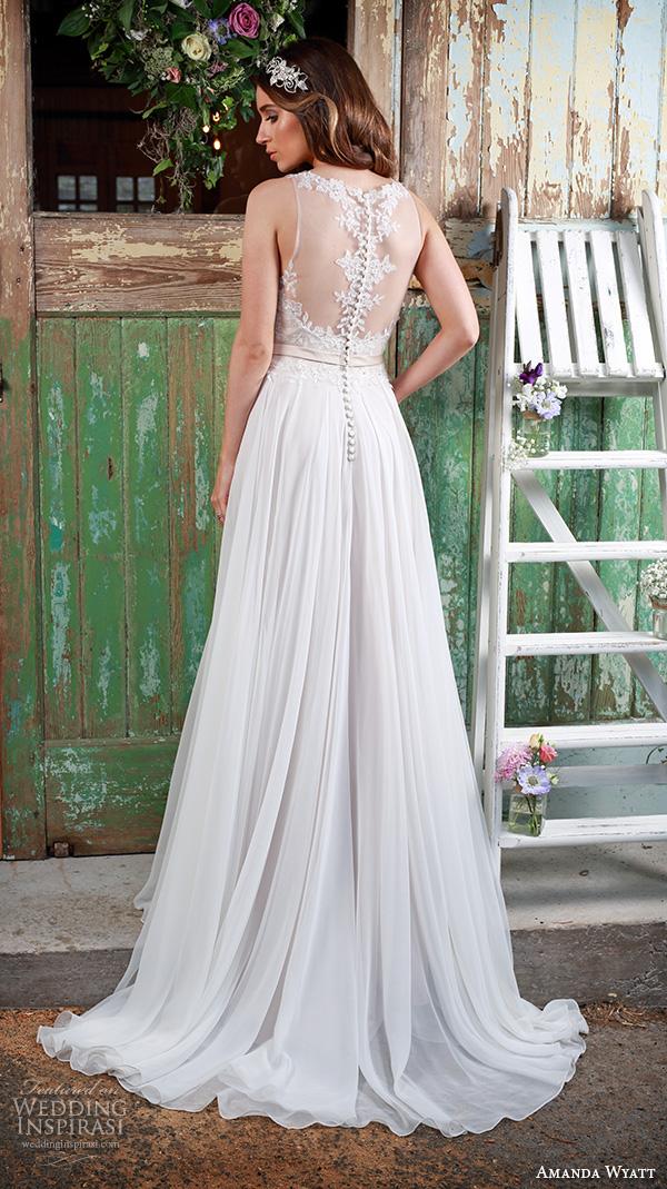 amanda wyatt 2016 bridal dresses beautiful flowy ivory a line wedding dress jewel neckline lace embroidery tulle skirt promise lace back