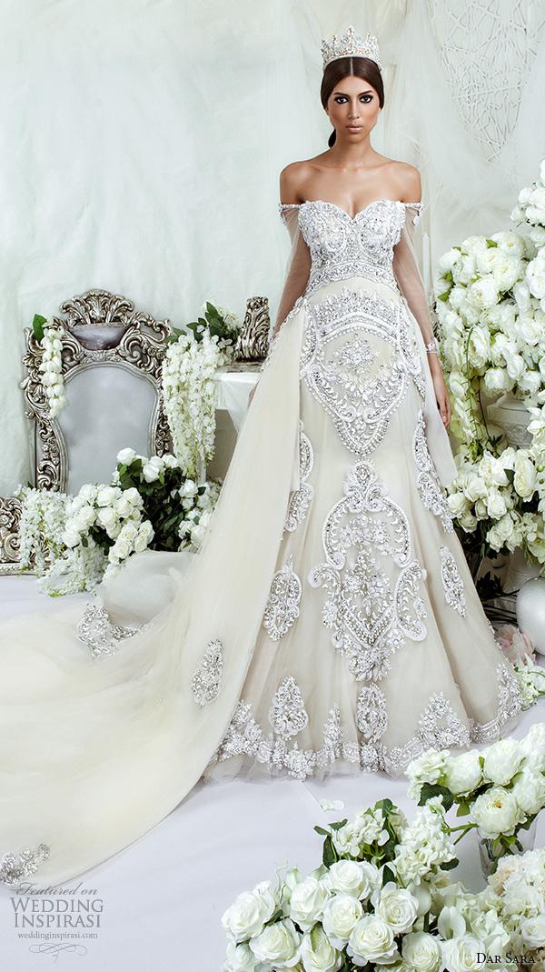 dar sara bridal 2016 wedding dresses extravagant a line gown off the shoulder strap sweetheart neckline embellishment embroidery