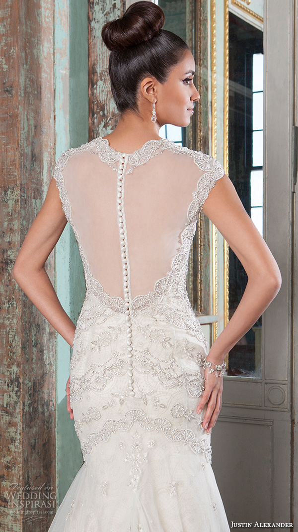 justin alexander signature spring 2016 beautiful mermaid wedding dress fit flare trumpet halter neck beaded embroidery bodice illusion back 9808 closeup