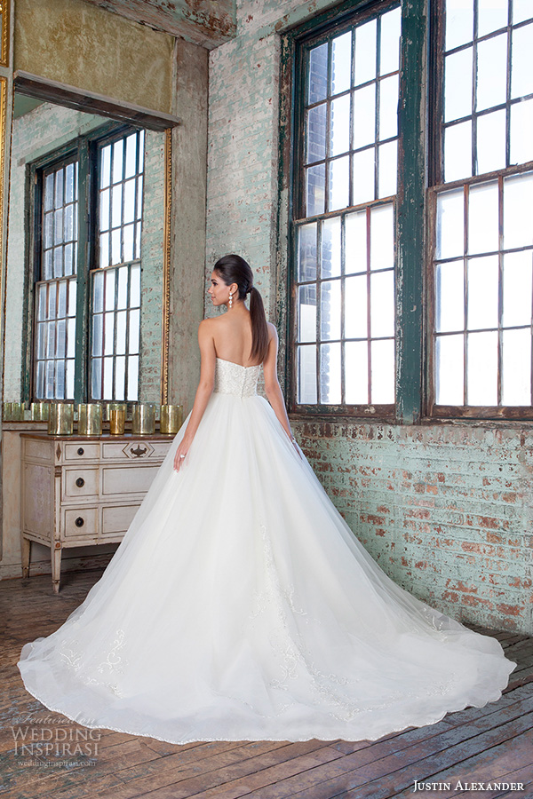 justin alexander signature spring 2016 gorgeous wedding ball gown strapless beaded embroidery bodice 9811 back view