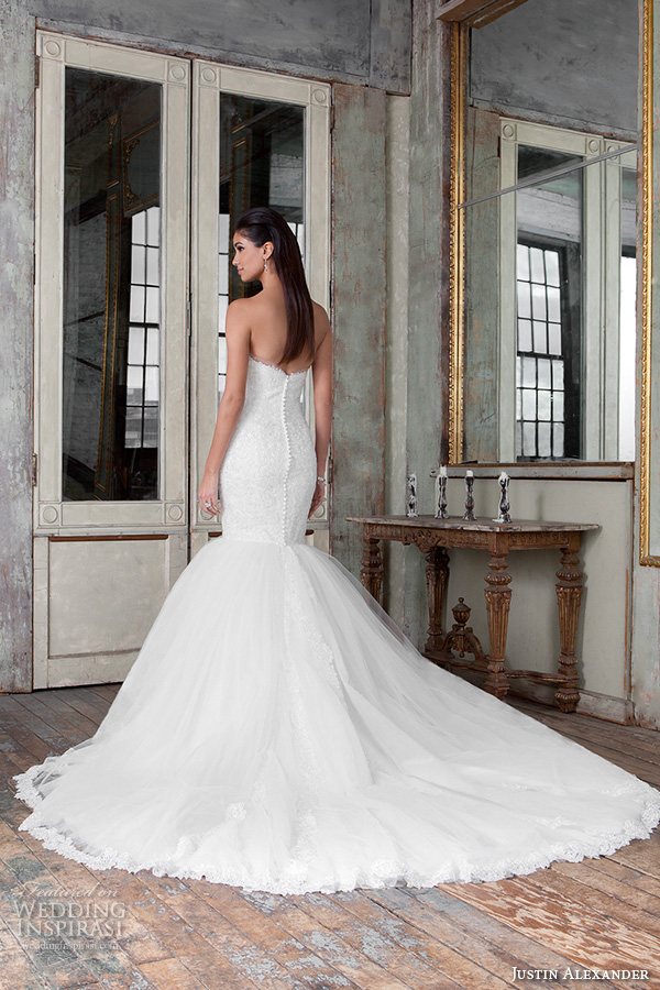 justin alexander signature spring 2016 pretty mermaid wedding dress strapless sweetheart neckline lace embroidery 9814 back