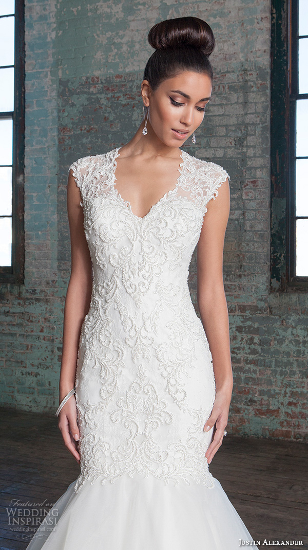 justin alexander signature spring 2016 stunning mermaid wedding dress v neckline sleeveless lace embroidered gown 9812.closeup