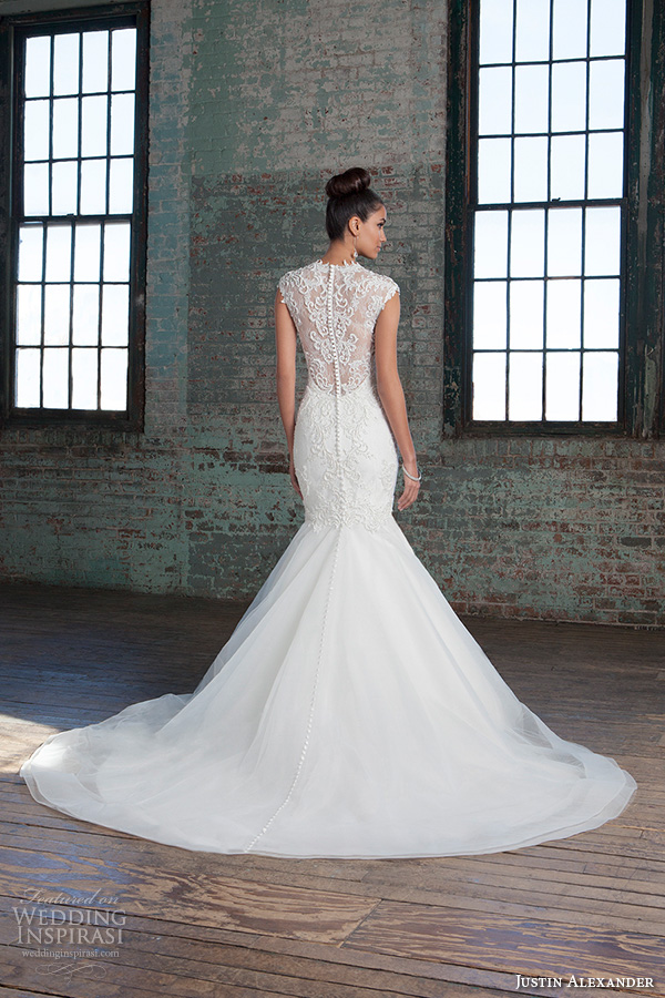 justin alexander signature spring 2016 stunning mermaid wedding dress v neckline sleeveless lace embroidered gown 9812.sheer lace back