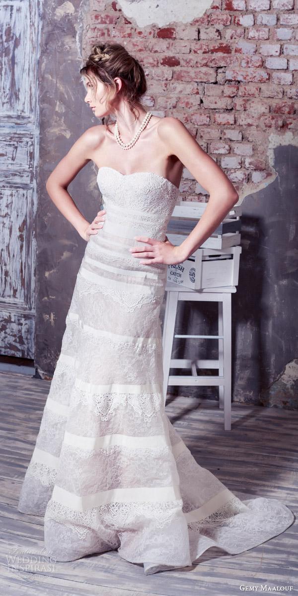 gemy maalouf bridal 2016 strapless sweetheart trumpet sheath wedding dress lace panels