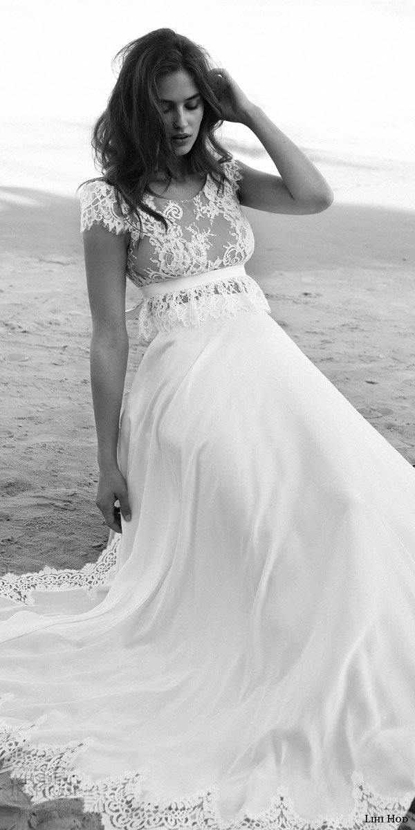 lihi hod bridal 2016 emma wedding dress scalloped cap sleeve lace crop top bodice empire waist sash skirt lace hem