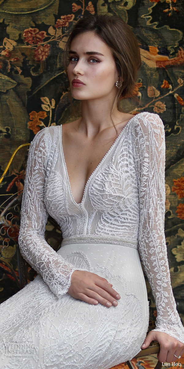 lihi hod bridal 2016 florence long sleeve wedding dress sheath silhouette deep v neckline pearl beaded bodice close up
