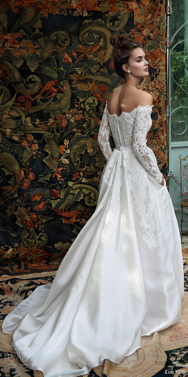 lihi hod bridal 2016 madison romantic ball gown wedding dress off shoulder long sleeve lace top back view train
