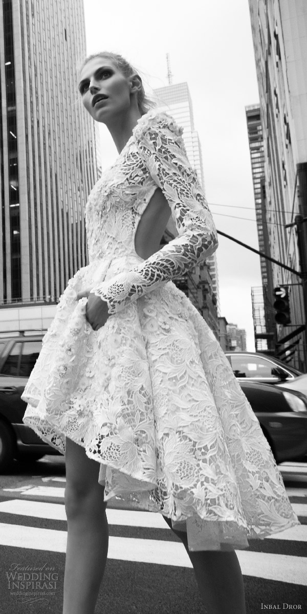 inbal dror 2016 bateau neck long bell sleeve lace ball gown short high low wedding dress style 02 sdv