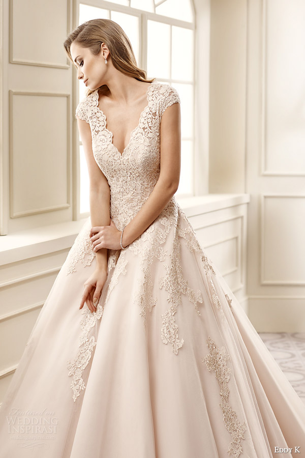 eddy k bridal 2016 cap sleeves sweetheart a line wedding dress (ek1065) zv  champagne color romantic