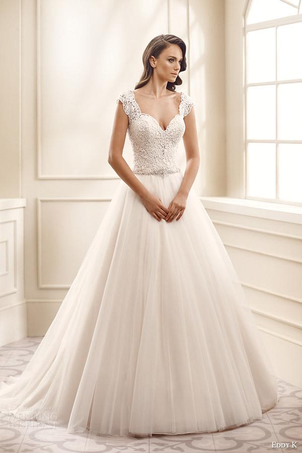 eddy k bridal 2016 cap sleeves thick straps sweetheart lace bodice a line wedding dress (ek1711) mv romantic