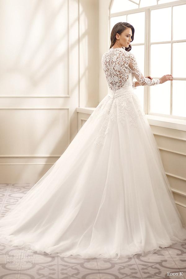 eddy k bridal 2016 illusion long sleeves sweetheart ball gown wedding dress (ek1072) bv medium train lace back traditional romantic