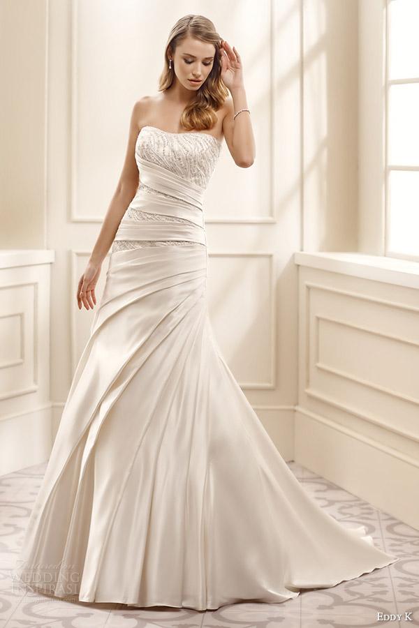 eddy k bridal 2016 strapless semi sweetheart beaded bodice trumpet satin wedding dress (ek1073) mv