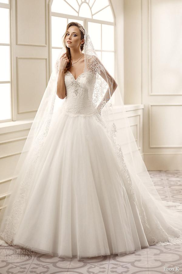 eddy k bridal 2016 strapless sweetheart drop waist lace bodice ball gown wedding dress (ek1066) mv romantic classic