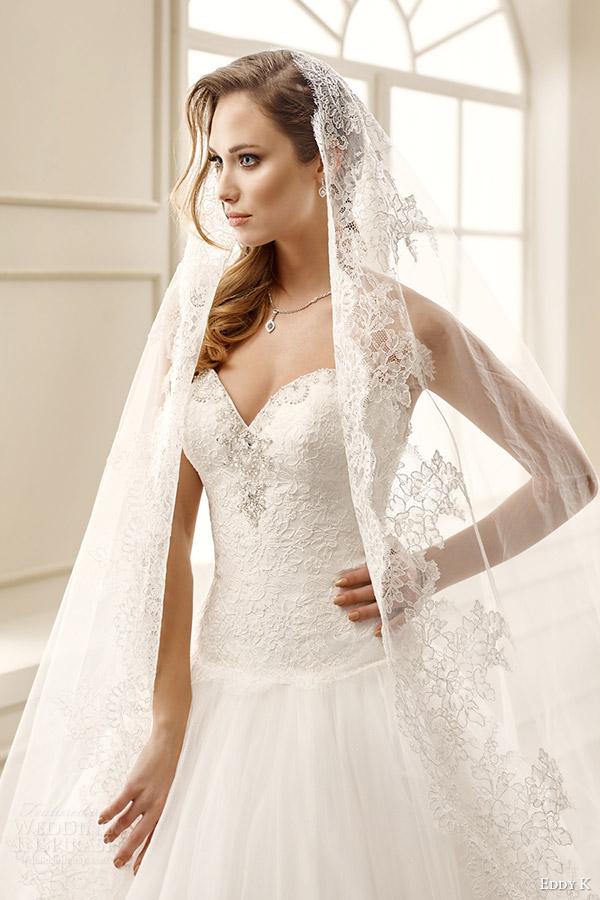 eddy k bridal 2016 strapless sweetheart drop waist lace bodice ball gown wedding dress (ek1066) zv romantic classic