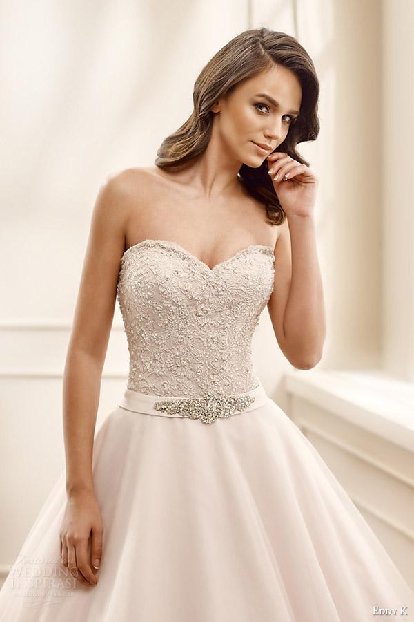 eddy k bridal 2016 strapless sweetheart lace bodice ball gown wedding dress (ek1068) zv champagne color romantic