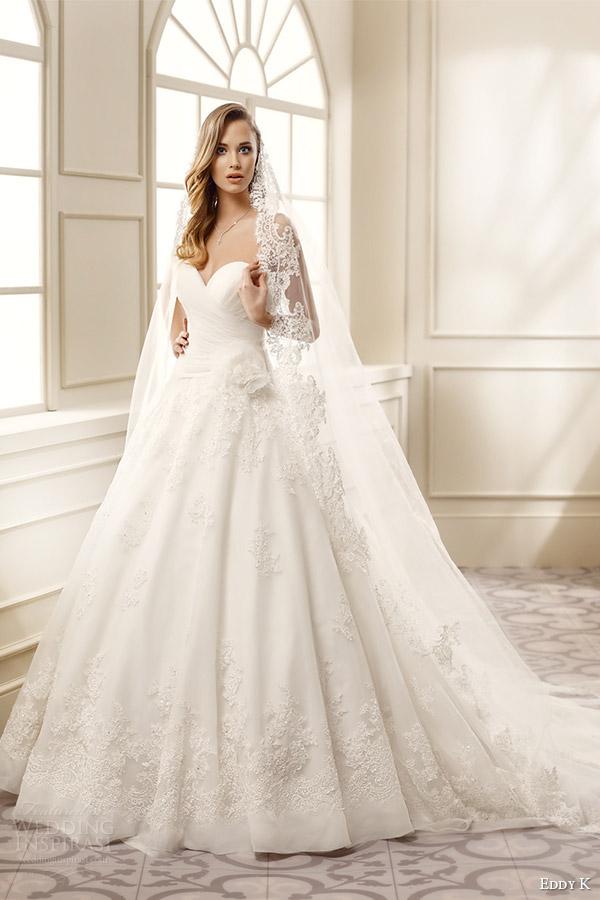eddy k bridal 2016 strapless sweetheart surplice a line wedding dress (ek1059) mv veil romantic classic