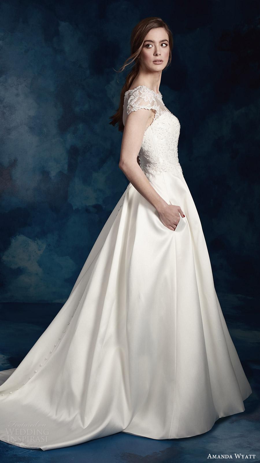 amanda wyatt bridal 2017 cap sleeves sweetheart illusion jewel a line wedding dress (wren) sv pockets train romantic
