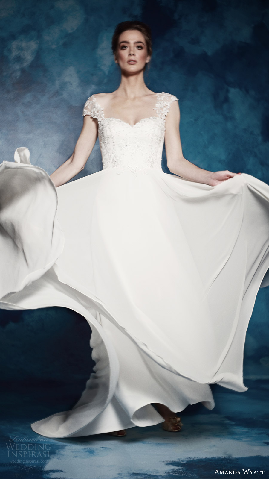 amanda wyatt bridal 2017 illusion cap sleeves sweetheart a line wedding dress (violette) fv  train romantic elegant