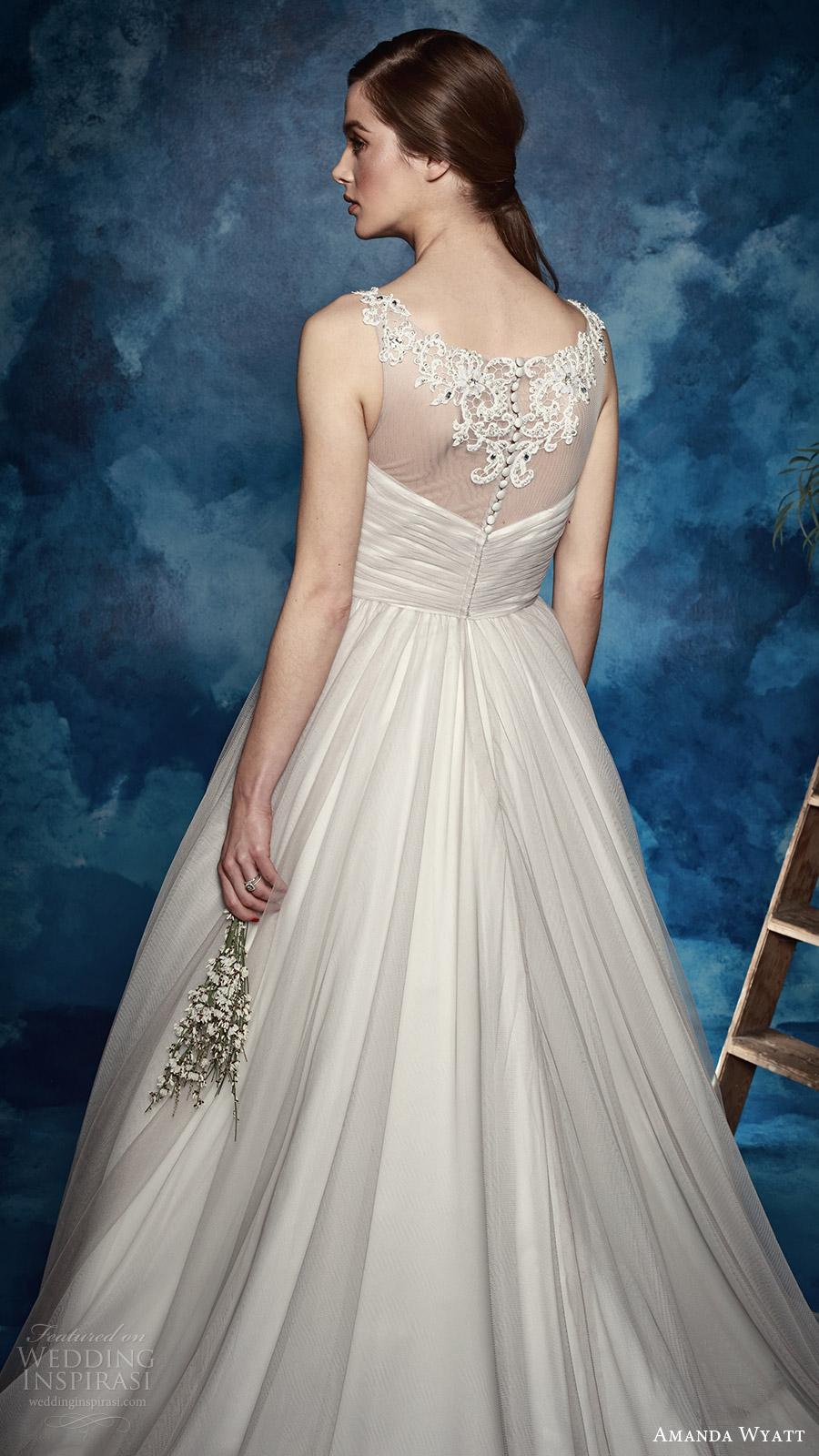 amanda wyatt bridal 2017 sleeveless lace straps vneck ruched surplic bodice a line wedding dress (north) bv illusion back grey color romantic train
