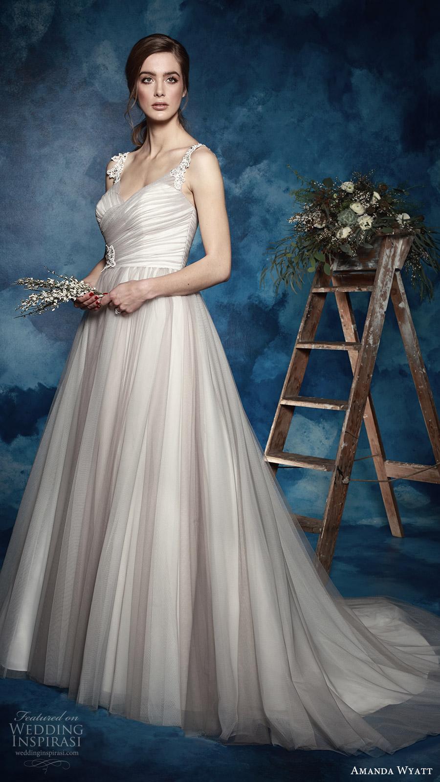 amanda wyatt bridal 2017 sleeveless lace straps vneck ruched surplic bodice a line wedding dress (north) mv grey color romantic train