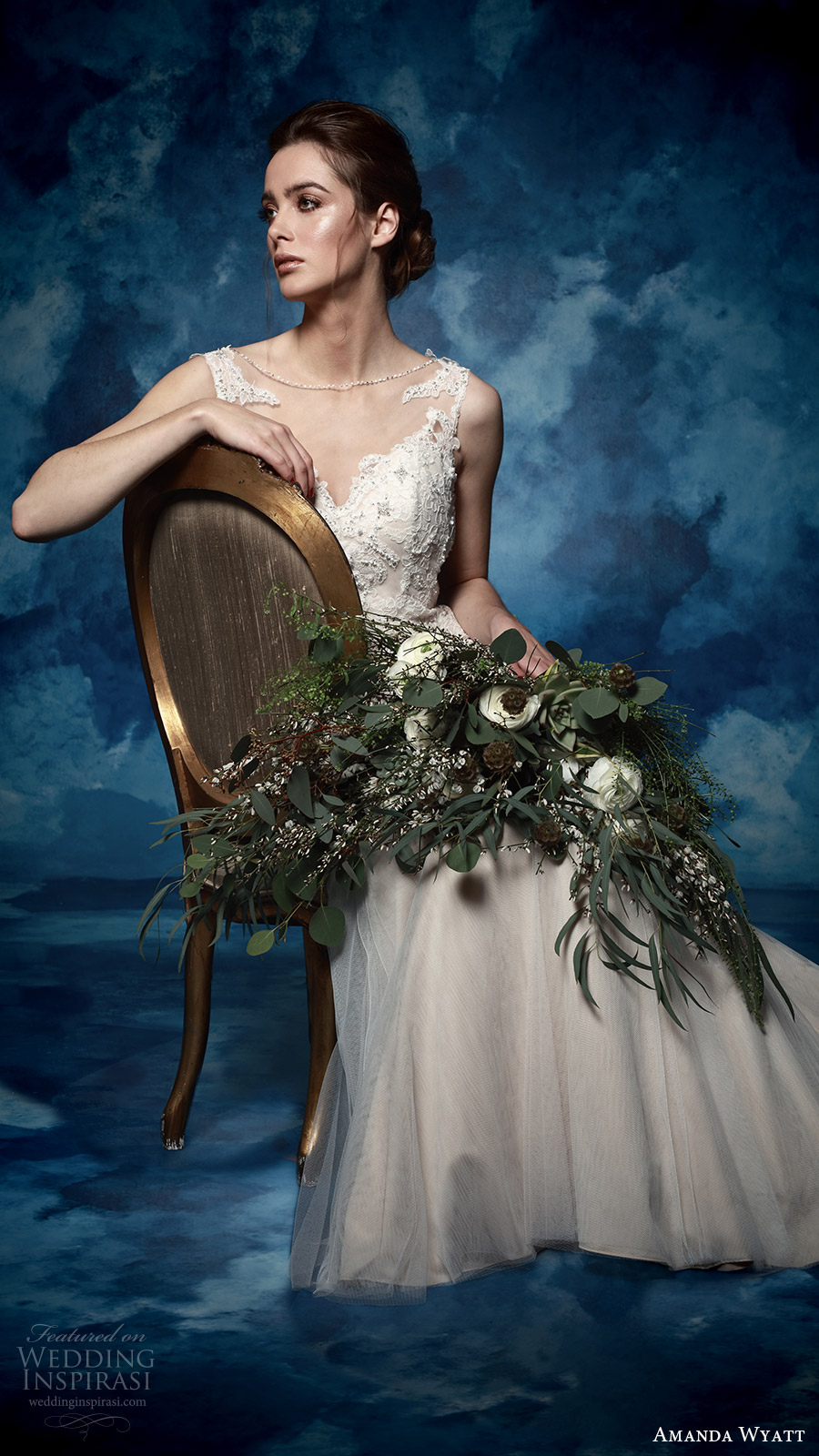 amanda wyatt bridal 2017 sleeveless sweetheart illusion jewel trumpet wedding dress (paola) mv low back