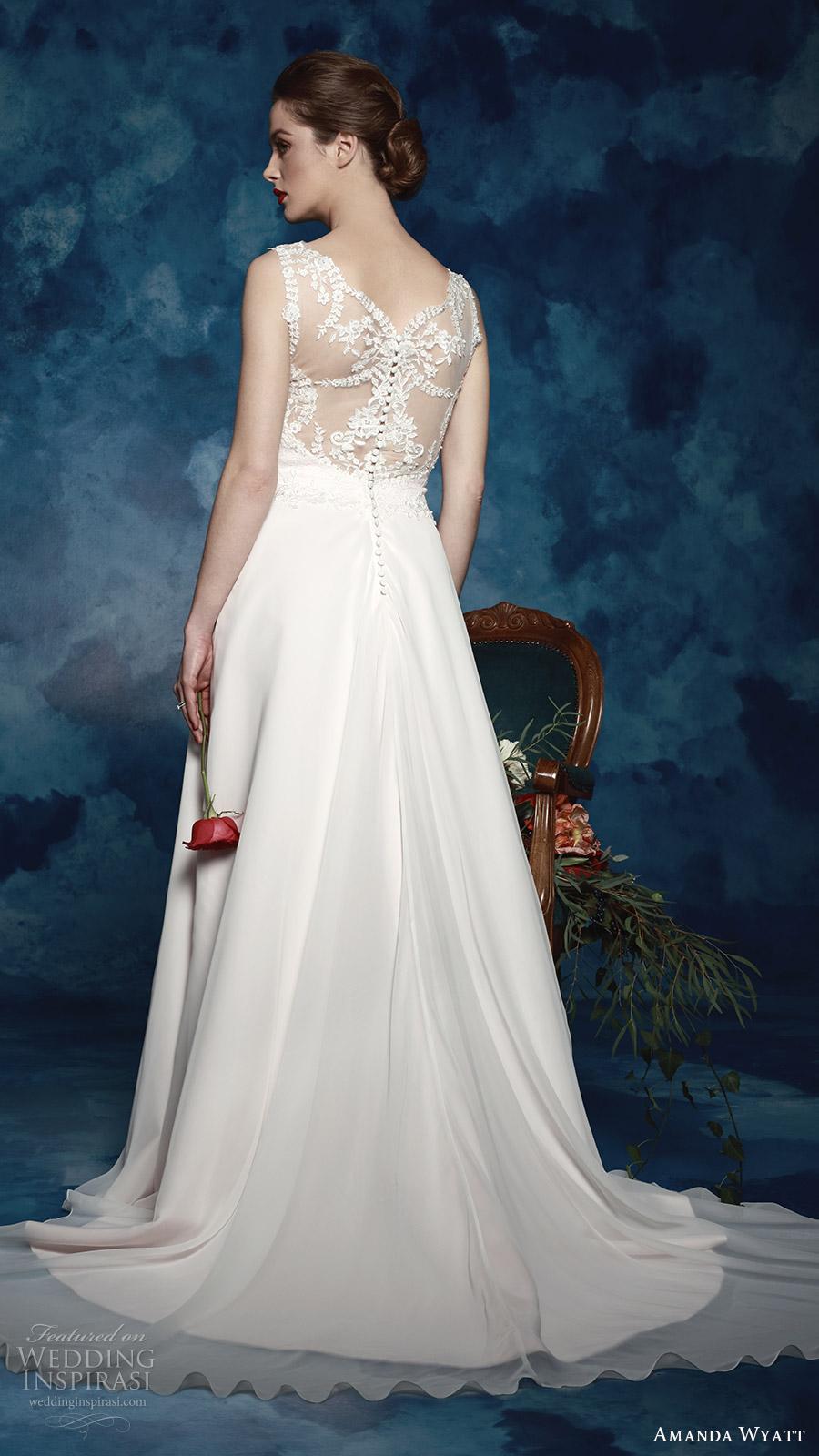 amanda wyatt bridal 2017 sleeveless thick straps lace a line wedding dress (lettie) bv illusion back romantic elegant