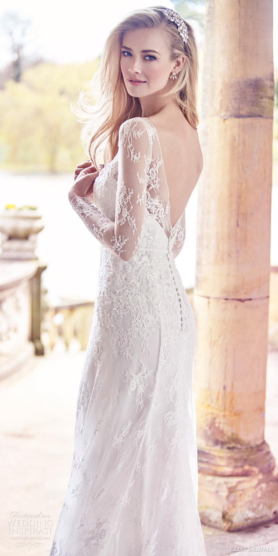92c19abf448 ellis bridals 2016 long sleeves sweetheart illusion bateau neckline trumpet  lace wedding dress (18019)