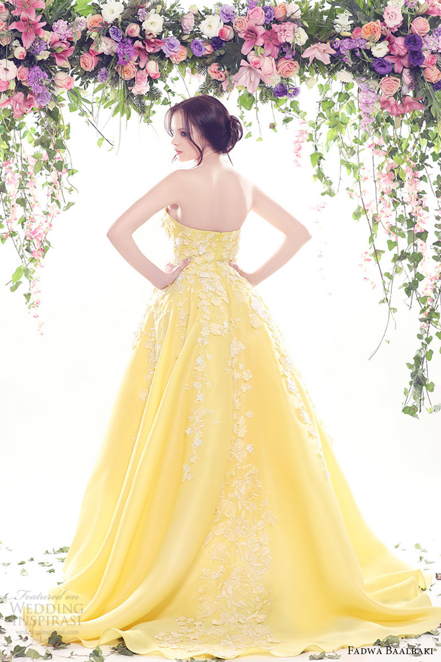 fadwa baalbaki spring 2016 couture strapless straight across dress yellow color bv