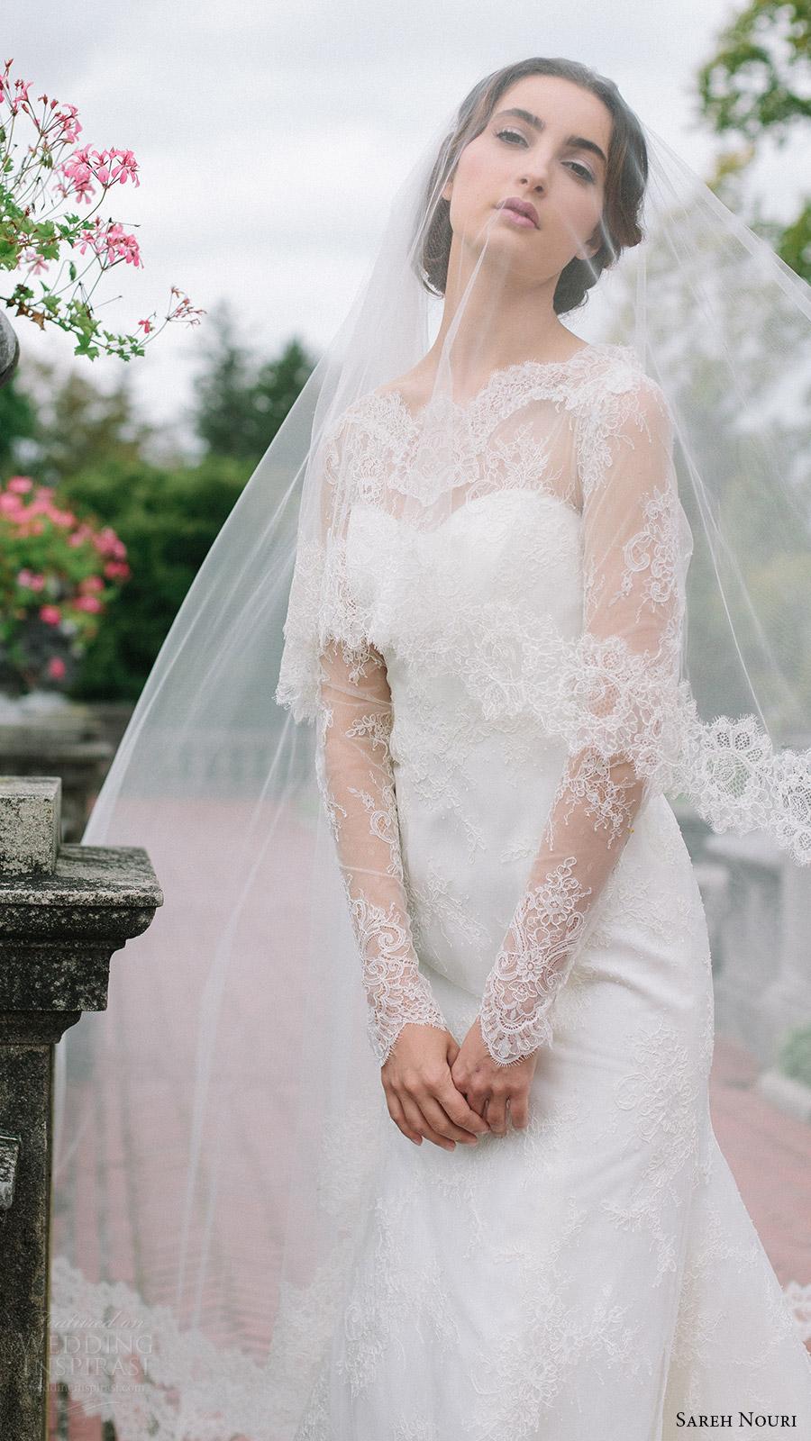 sareh nouri bridal fall 2016 long sleeves sweetheart illusion jewel neck lace wedding dress (miriam) zv elegant romantic