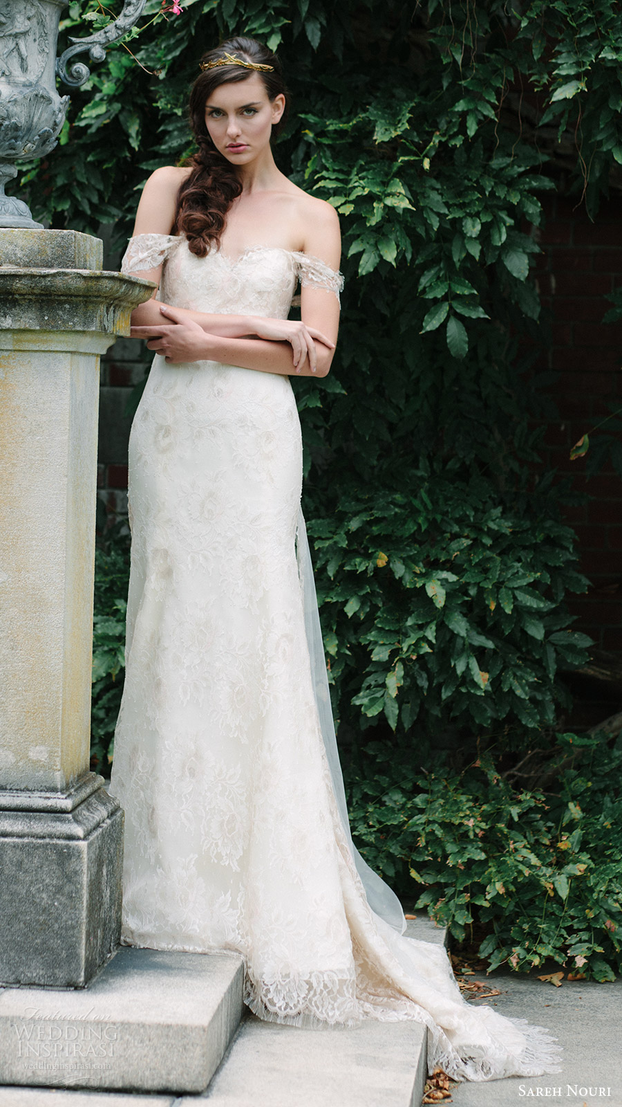 sareh nouri bridal fall 2016 off shoulder sweetheart trumpet lace wedding dress (tala) mv romantic elegant