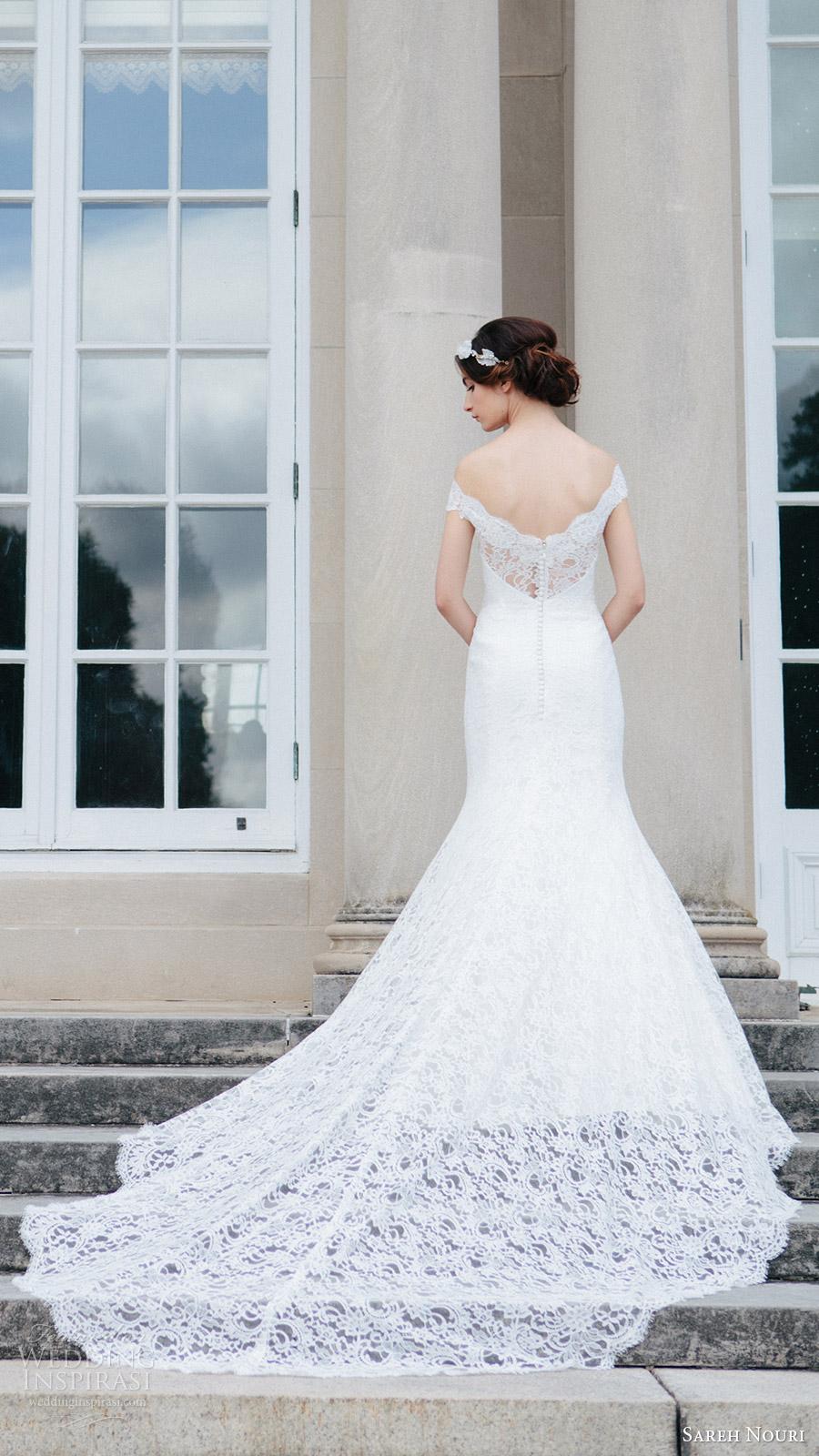 sareh nouri bridal fall 2016 short sleeves off shoulder trumpet mermaid lace wedding dress (jannan) bv train romantic elegant