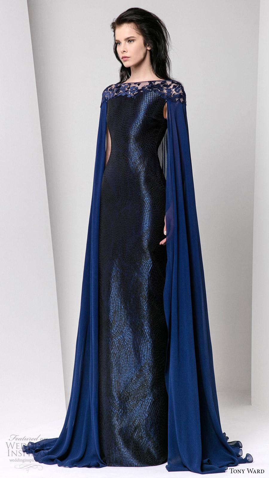 tony ward fall winter 2016 2017 rtw cape sleeves illusion bateau neckline sheath evening dress deep blue wedding inspiration