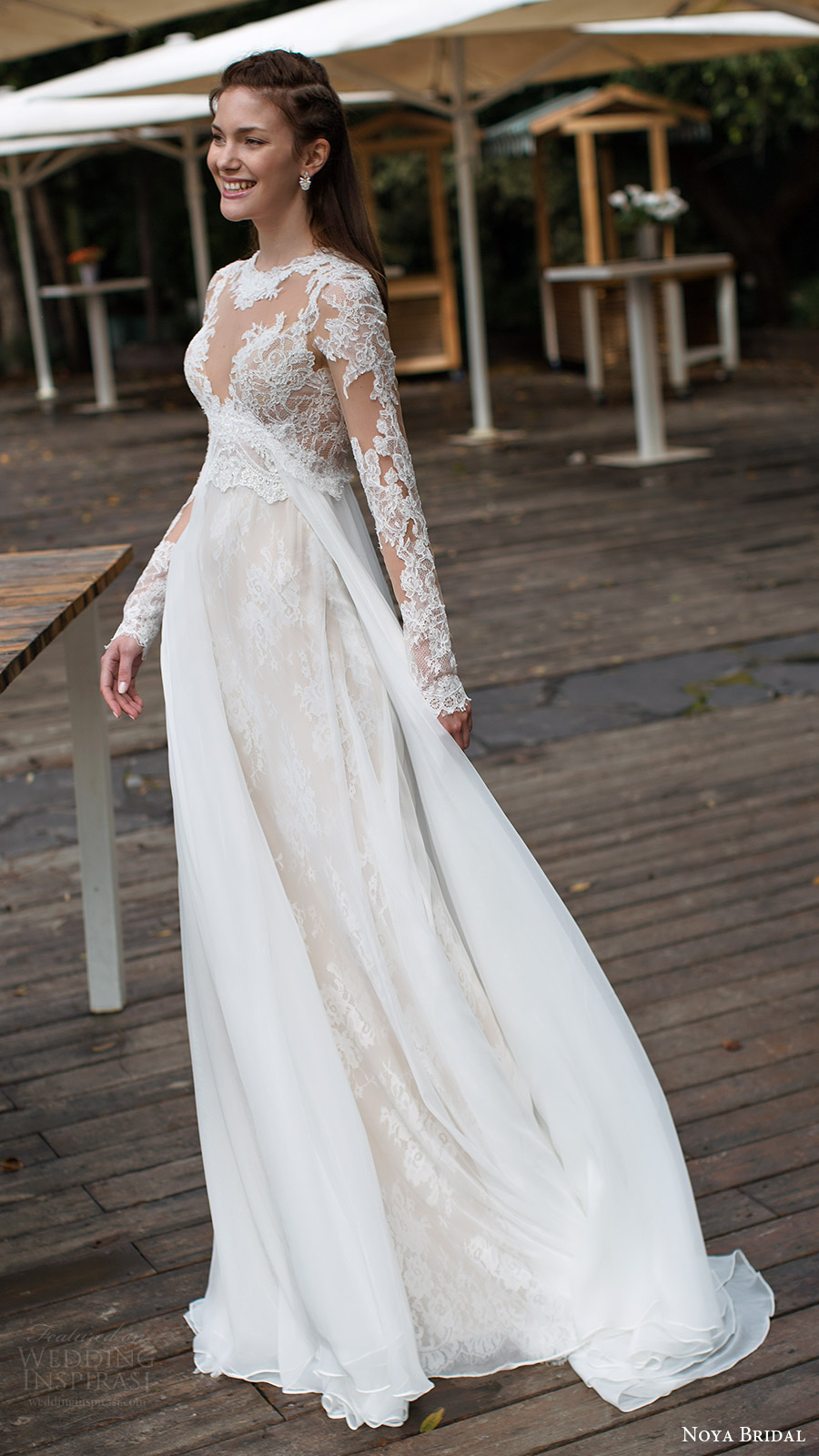 noya bridal 2016 3 long sleeves sweetheart illusion jewel neck trumpet sheath lace wedding dress (1208) mv overskirt train romantic